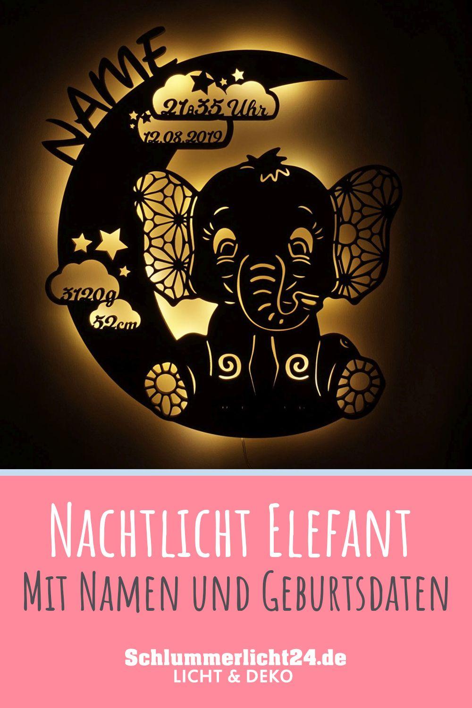 Elefant Nachtlicht Mit Namen Kinderzimmer Deko Led Beleuchtet In 2020 Herzliche Gluckwunsche Zur Geburt Nachtlicht Gluckwunsche Zur Geburt