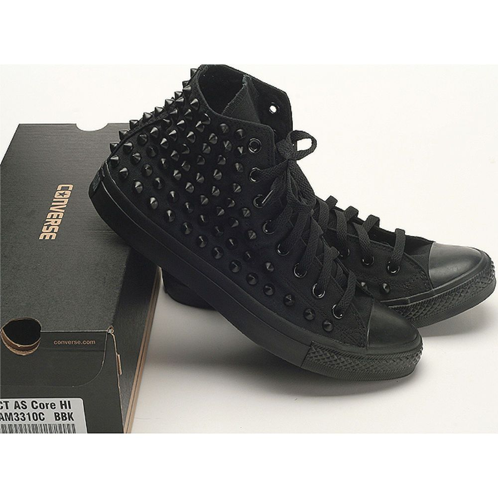 New Dark Punk Metal Spike Stud Custom Color Converse Genuine Black ag5qnarUP