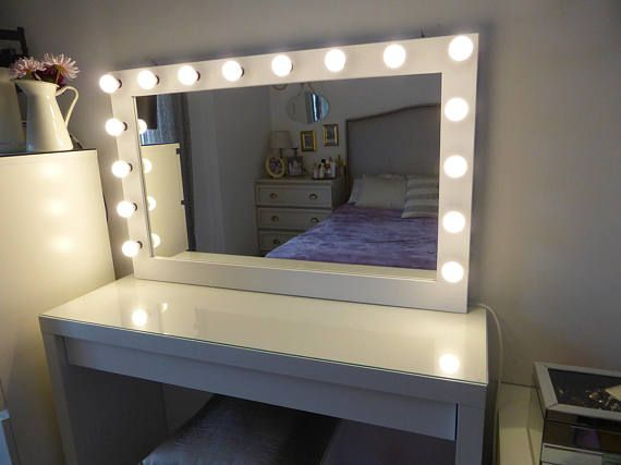 Xl hollywood vanity mirror 43 x 27 makeup mirror with lights xl hollywood vanity mirror 43 x 27 makeup mirror with lights wall hangingfree standing perfect for ikea malm vanity bulbs not included mozeypictures Choice Image