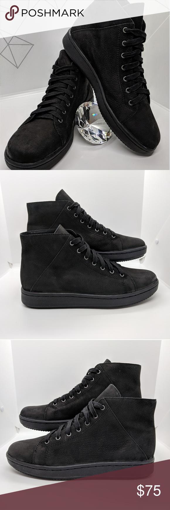 1a85253934 Eileen Fisher Game 2 Nubuck Black Sneaker Gorgeous black on black high top  sneaker. Tumbled