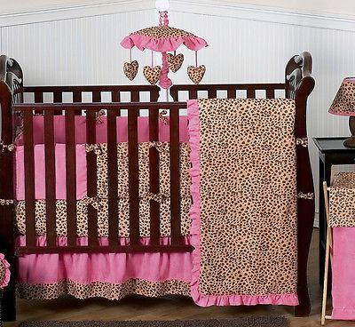 Pink And Brown Cheetah Print Baby Crib Bedding Set For Newborn Girl Sweet Jojo Baby Crib Bedding Sets Baby Girl Crib Sets Baby Girl Bedding