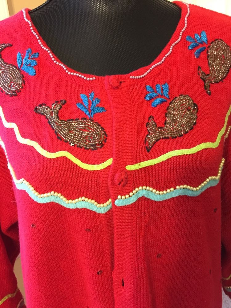 Details about Embellished Sweater The Quacker Factory Nautical