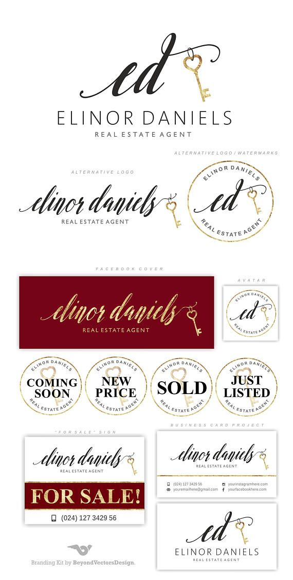 Real Estate logo design, Key logo, Realtor logo, Premade Branding ...