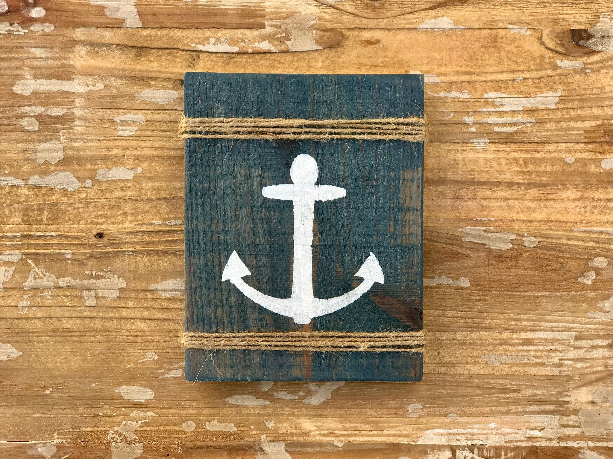 Strand badezimmer dekor diy anchor sign with twine jute rope beach house decor rustic beach