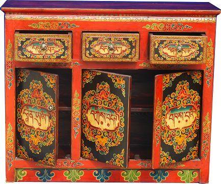 Tibetano pintada m o objetos deco y muebles for Muebles tibetanos