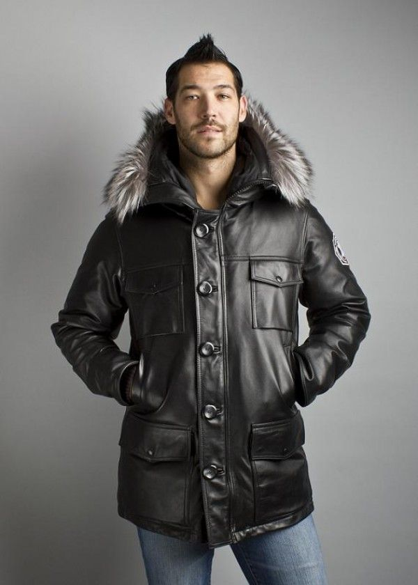 Arctic Fusion Leather Parka | Hooded Leather Parka #leatherbaba ...