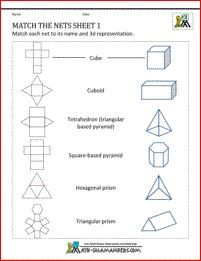 Worksheet 3d Figures With Their Names And Nets nets worksheets match the sheet 1 to correct 3d shape