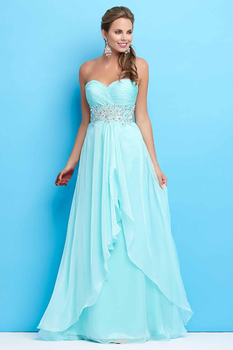 2015 Sweetheart A-Line Prom Dresses Sweep Train With Beads And ...