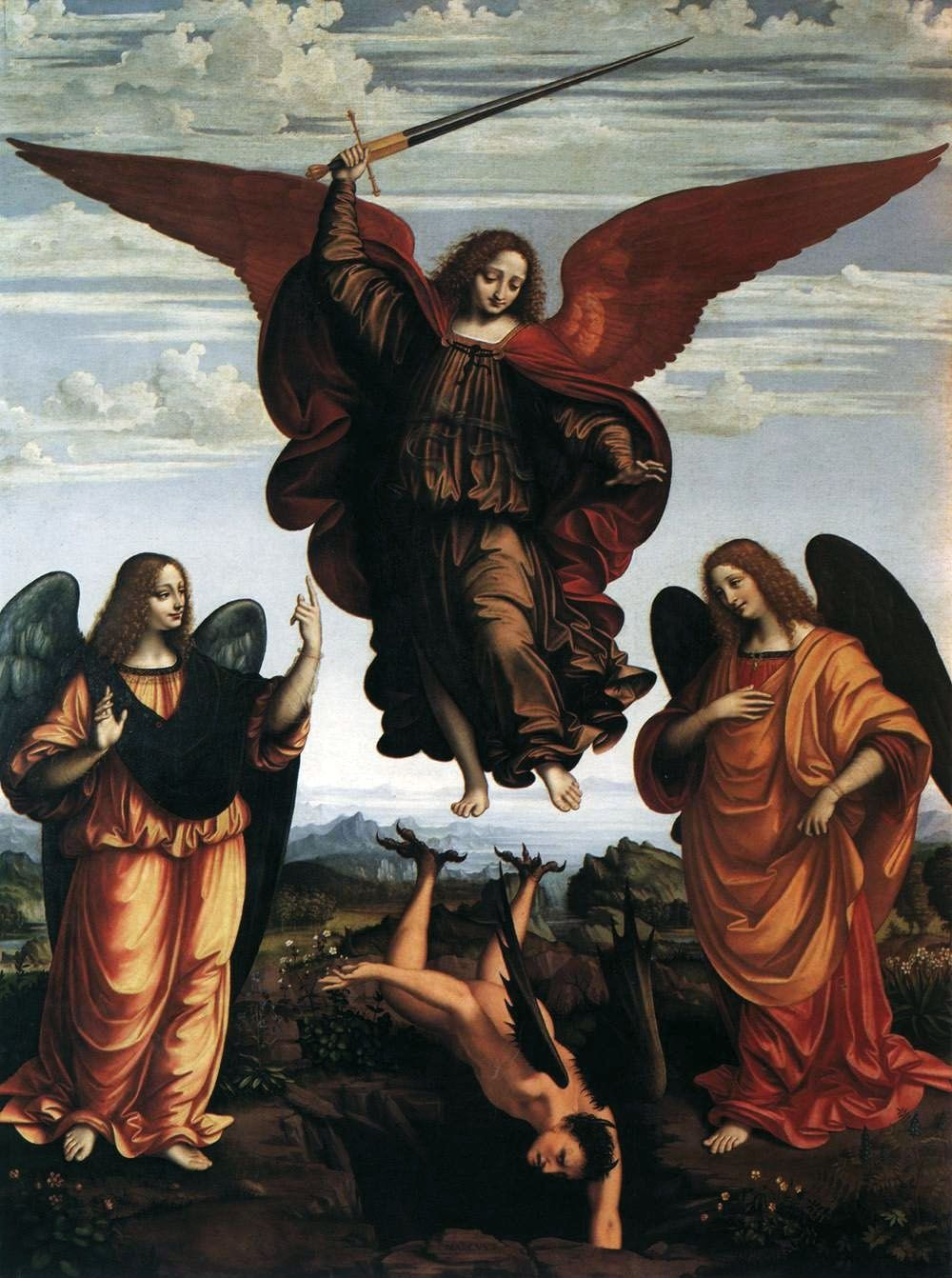 OGGIONO, Marco d' Italian (1475-ca.1530)_Altarpiece of the three Archangels