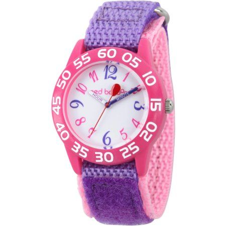 Red Balloon Girls Pink Plastic Time Teacher Watch Purple Hook And