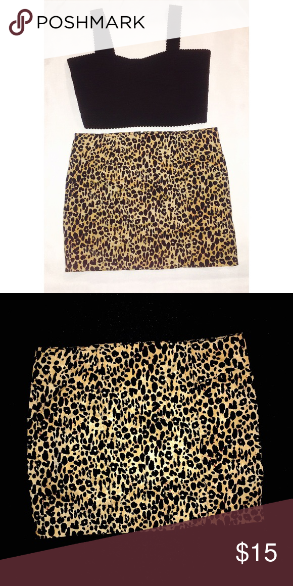 Leopard Print Skirt Size Large Leopard Print Skirt, Perfect Condition. Skirts Mini