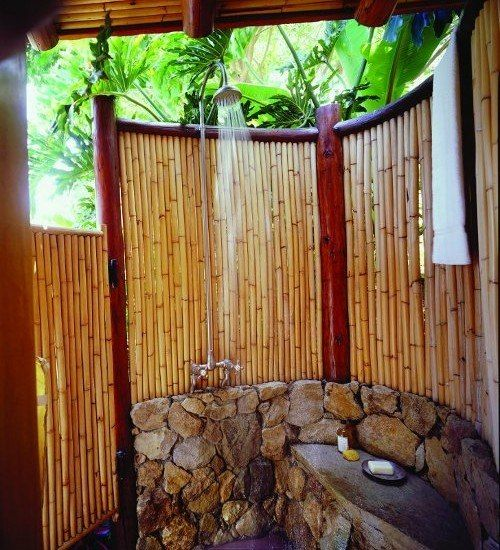 Nice Garten Dusche Paravent Bambus Ideen Stein Boden