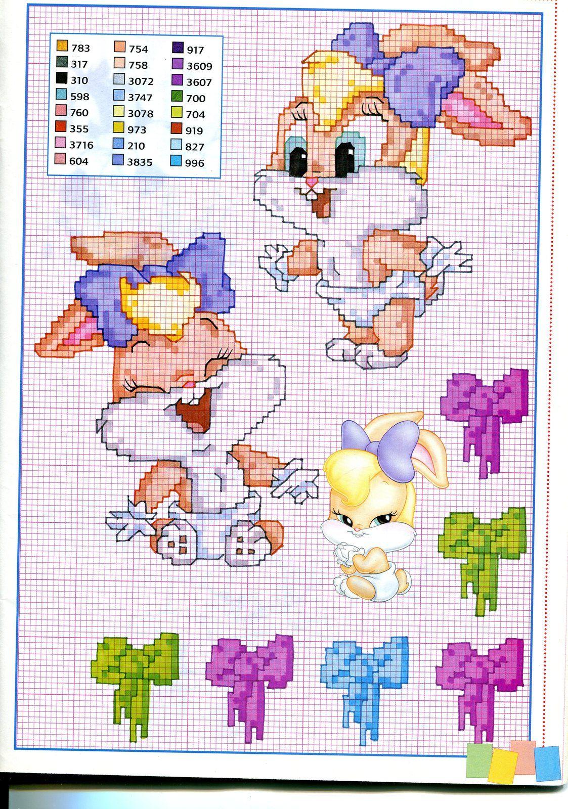 Baby lola bunny schema punto croce punto for Disney punto croce schemi gratis