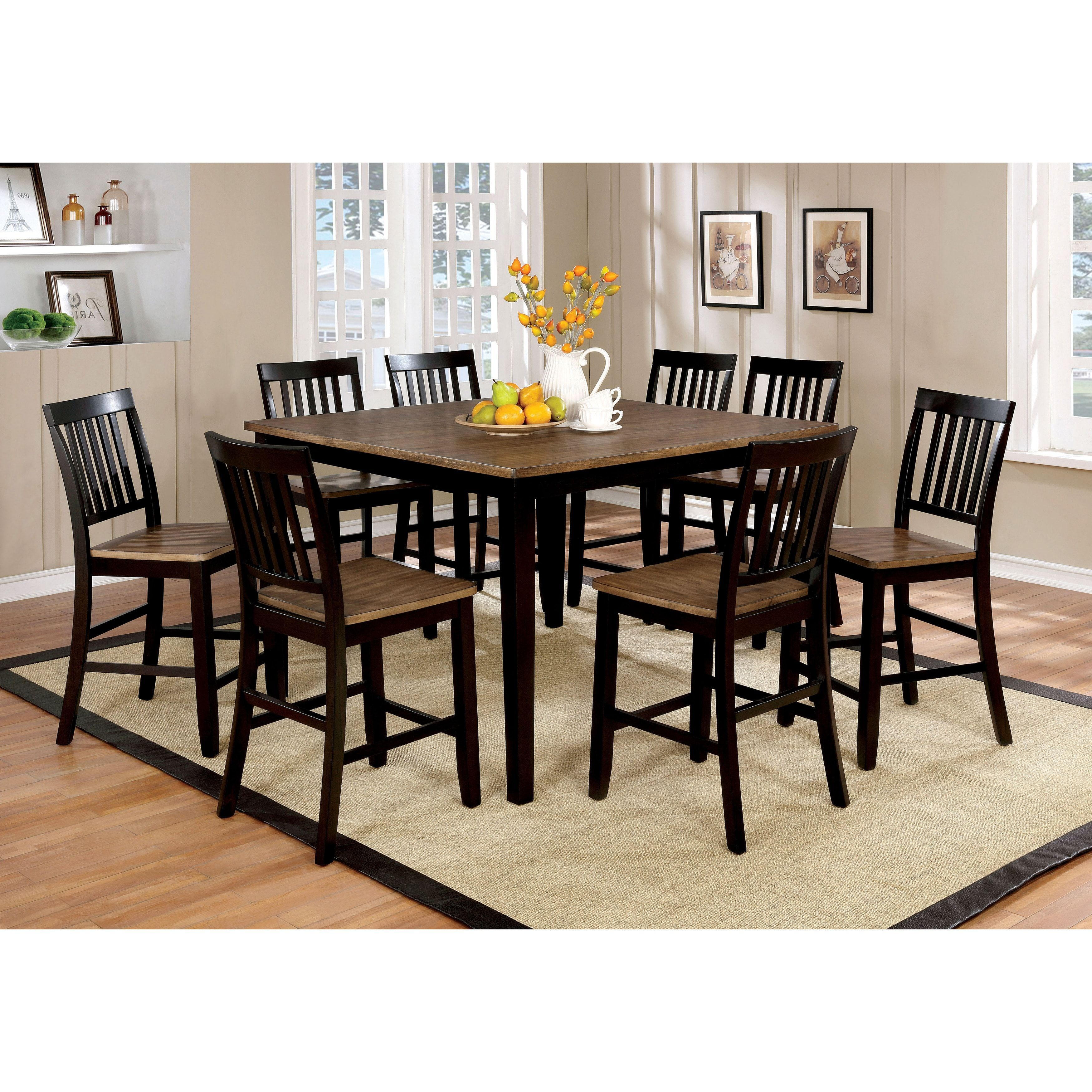 Furniture Of America Fresial 9 Piece Rustic Oak/Espresso Counter Height  Dining Set