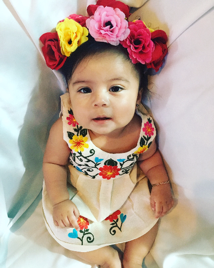 de colores mexican baby dress with floral design embroidery
