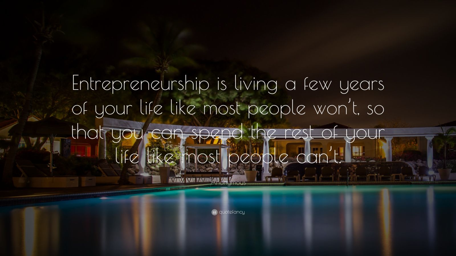 "Anonymous Quotes About Life Anonymous Quote ""Entrepreneurship Is Living A Few Years Of Your"