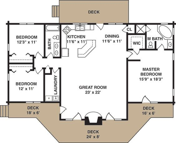 Love The Floor Plan With A Finished Basement With A Family Room Playroom School Room A Bathroom And A Couple Be Log Home Plan Cottage Plan Dream House Plans