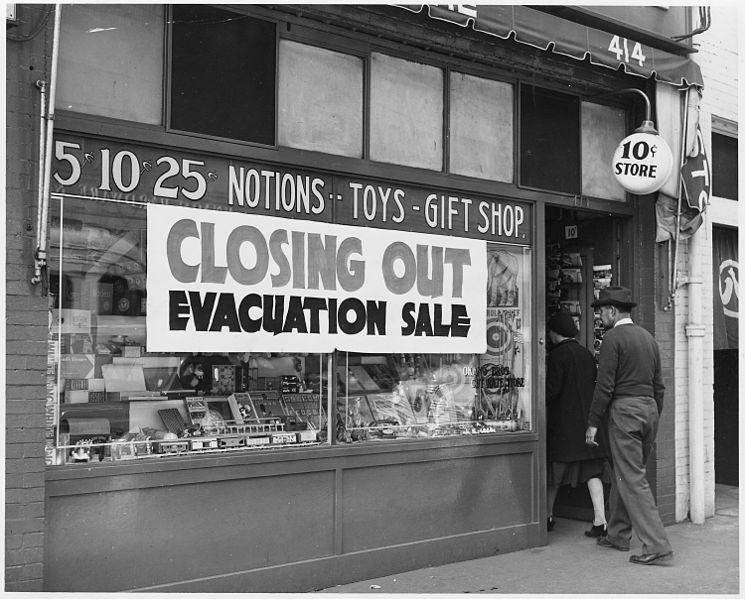 """Evacuation sale during Japanese Relocation"", early 1940s, public domain via Wikimedia Commons."