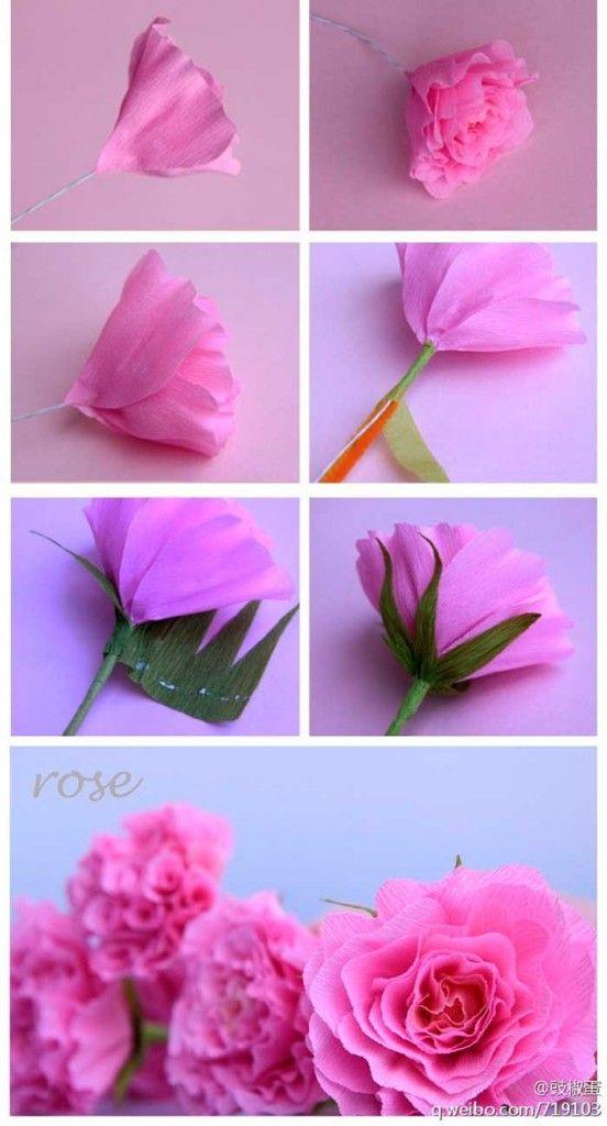 Hacer rosas de papel crepe flores pinterest origami - Como hacer rosas de papel ...