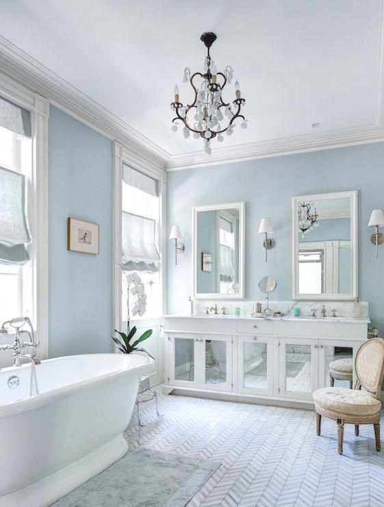 Master Bathroom Blue Walls Chevron Marble Tile Blue Bath Rug