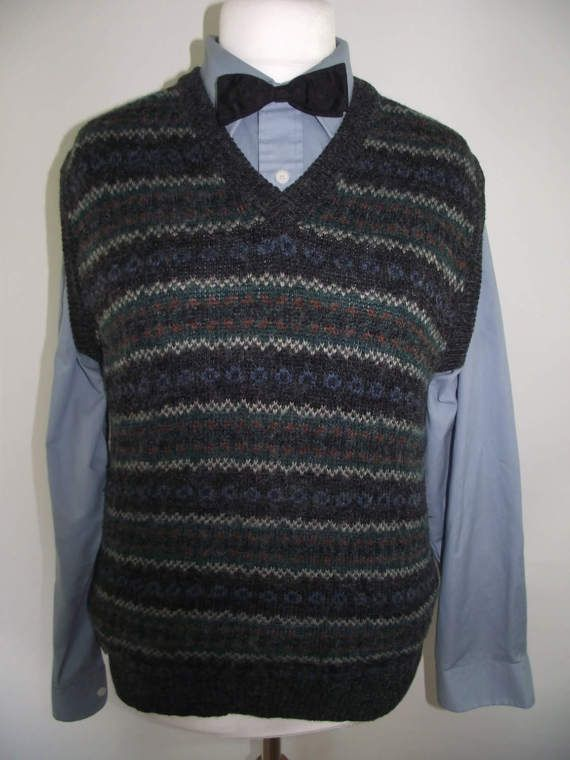 Vintage mens vest fair isle 40s style lambswool v neck pullover ...