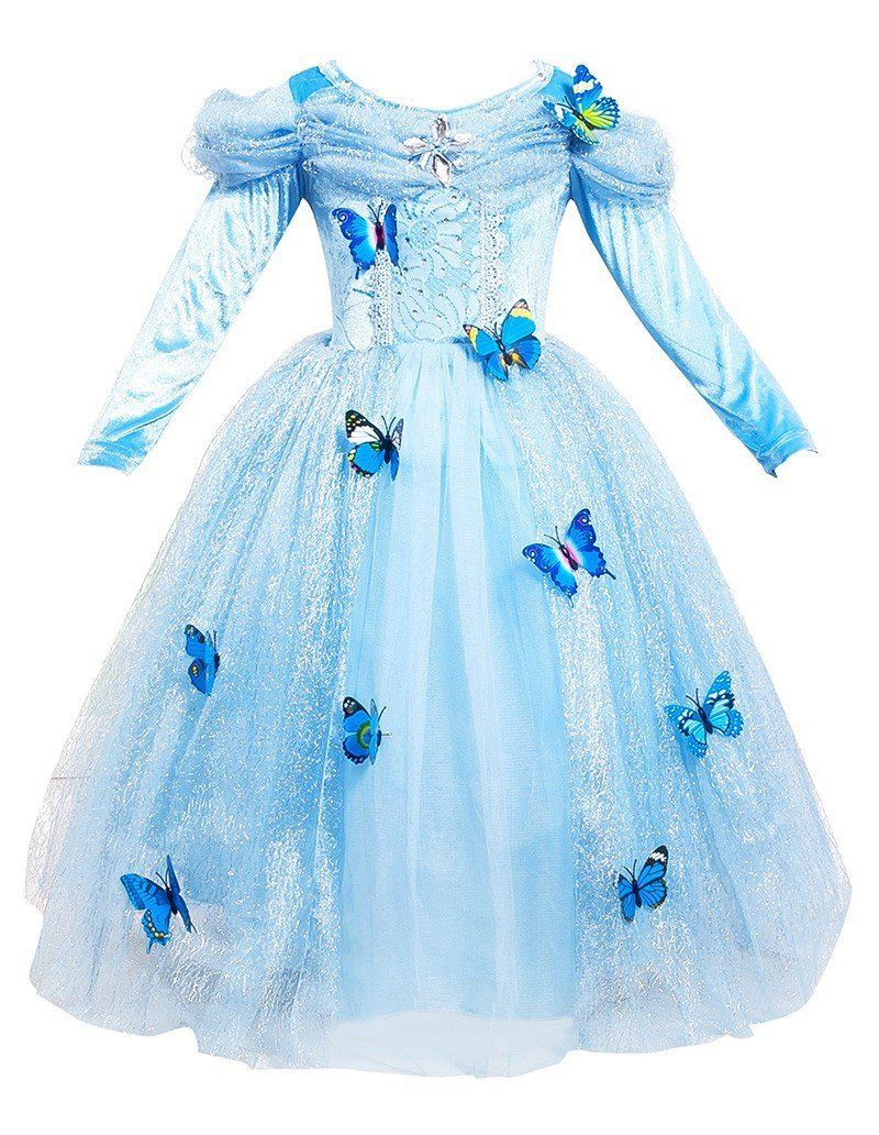 db85be96ac6a Cinderella Butterfly Kid Girls Party Gown Costume Princess Dress ...