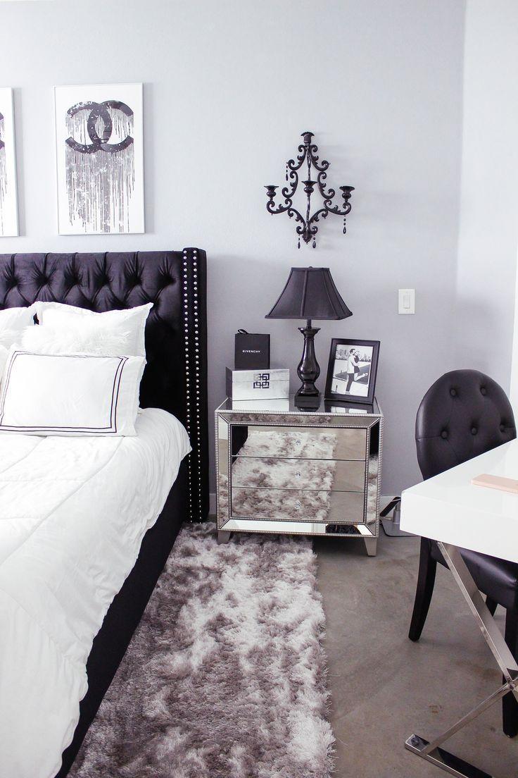 Black u0026 White Bedroom Decor Chic