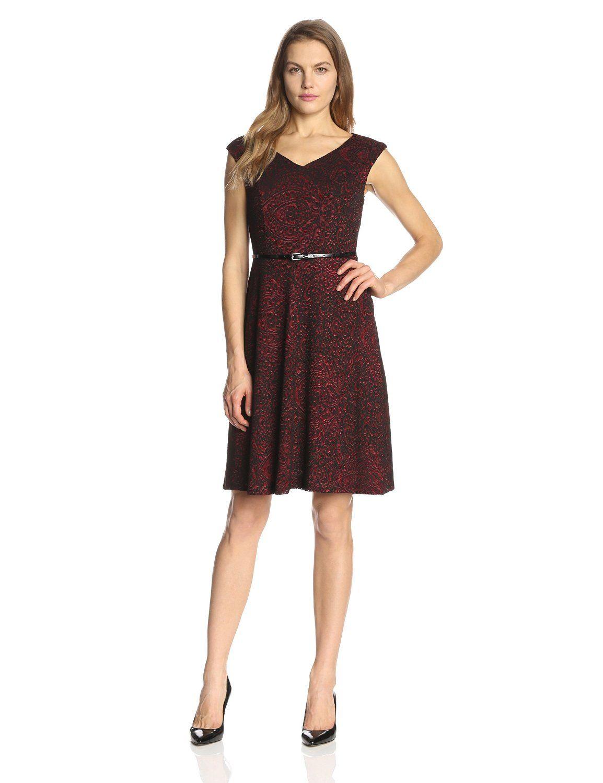 51699d746d11d Cap Sleeve Belted Mesh Dress by Kasper