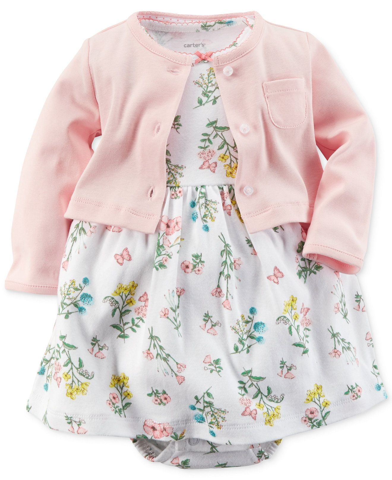 Carter s Baby Girls 2 Piece Cardigan & Floral Dress Set Kids