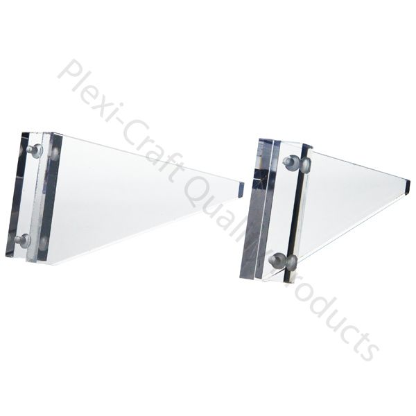 "Support brackets for shelving.   1/2"" thick Clear Acrylic   CUSTOM SIZES AVAILABLE. Built to order, please"