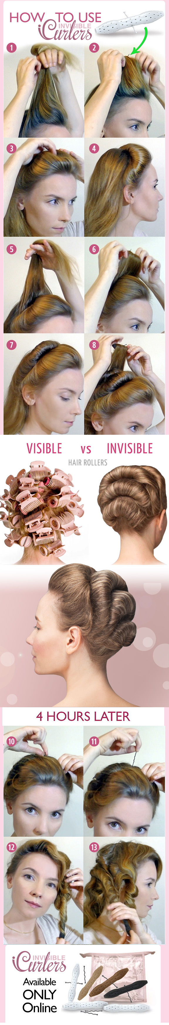 Invisible hair rollers tutorial how to use icurlers updo hairdo