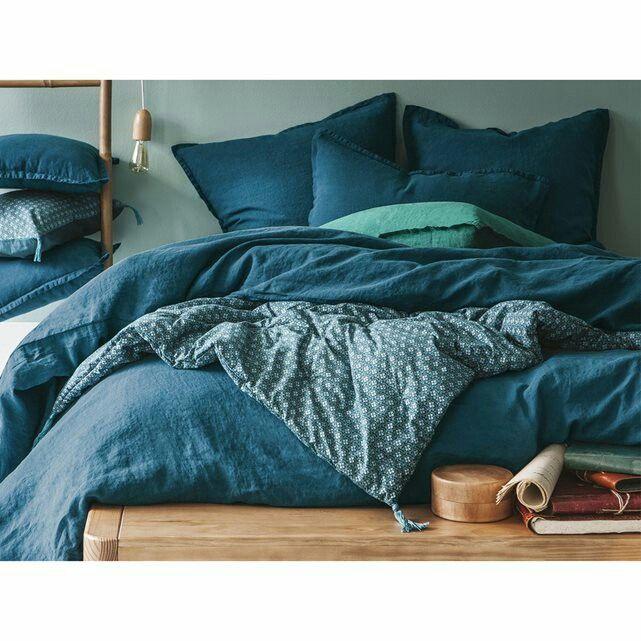 Couette lin lavé bleu canard | Linge de lit | Pinterest | Lin lavé ...