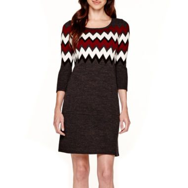 9fd5fe7cea Studio 1® 3 4-Sleeve Chevron Sweater Dress found at  JCPenney ...