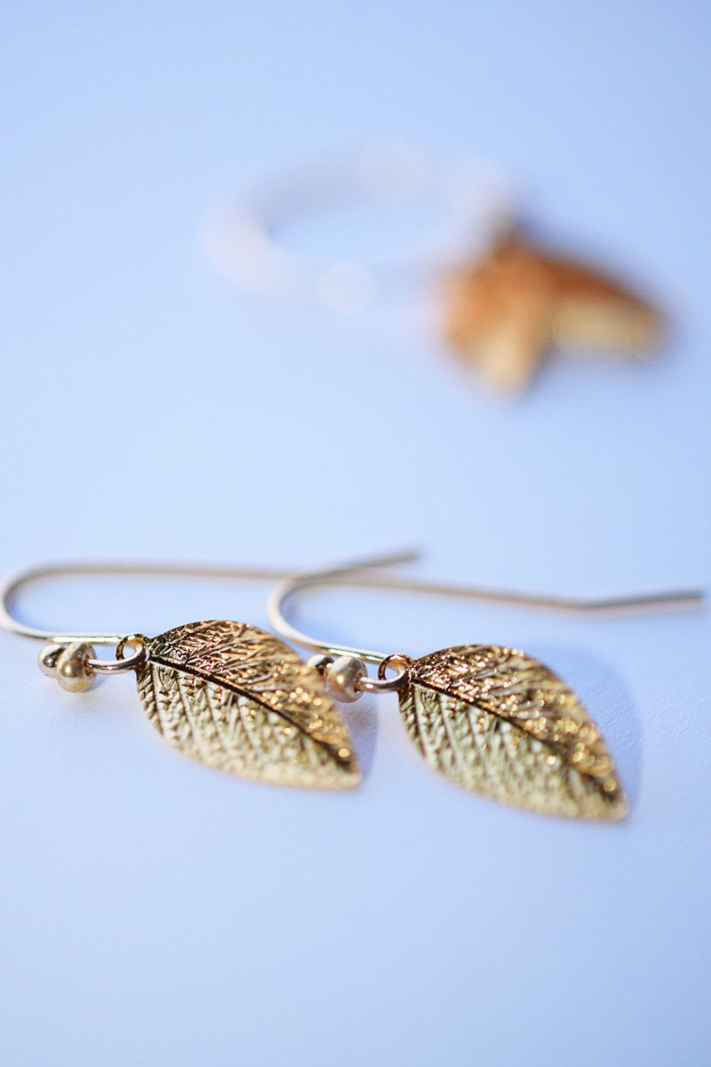 Gold leaf earrings, simple gold earrings, minimal gold earrings, A ...