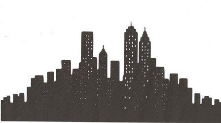 New York City Skyline Silhouette Large Via Etsy Con Imagenes Fiesta En Nueva York Plantillas Graffiti Horizontes De La Ciudad