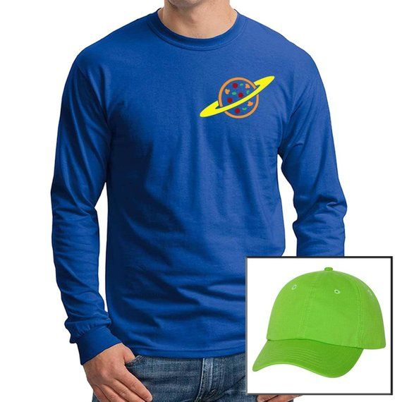 Pizza Planet Alien blue T-shirt Long Sleeve with Green Hat Toy Story Aliens  Halloween Costume Set Cosplay Men s 43a9186827