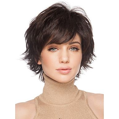 Synthetic Wig Curly Curly With Bangs Wig Short Bla
