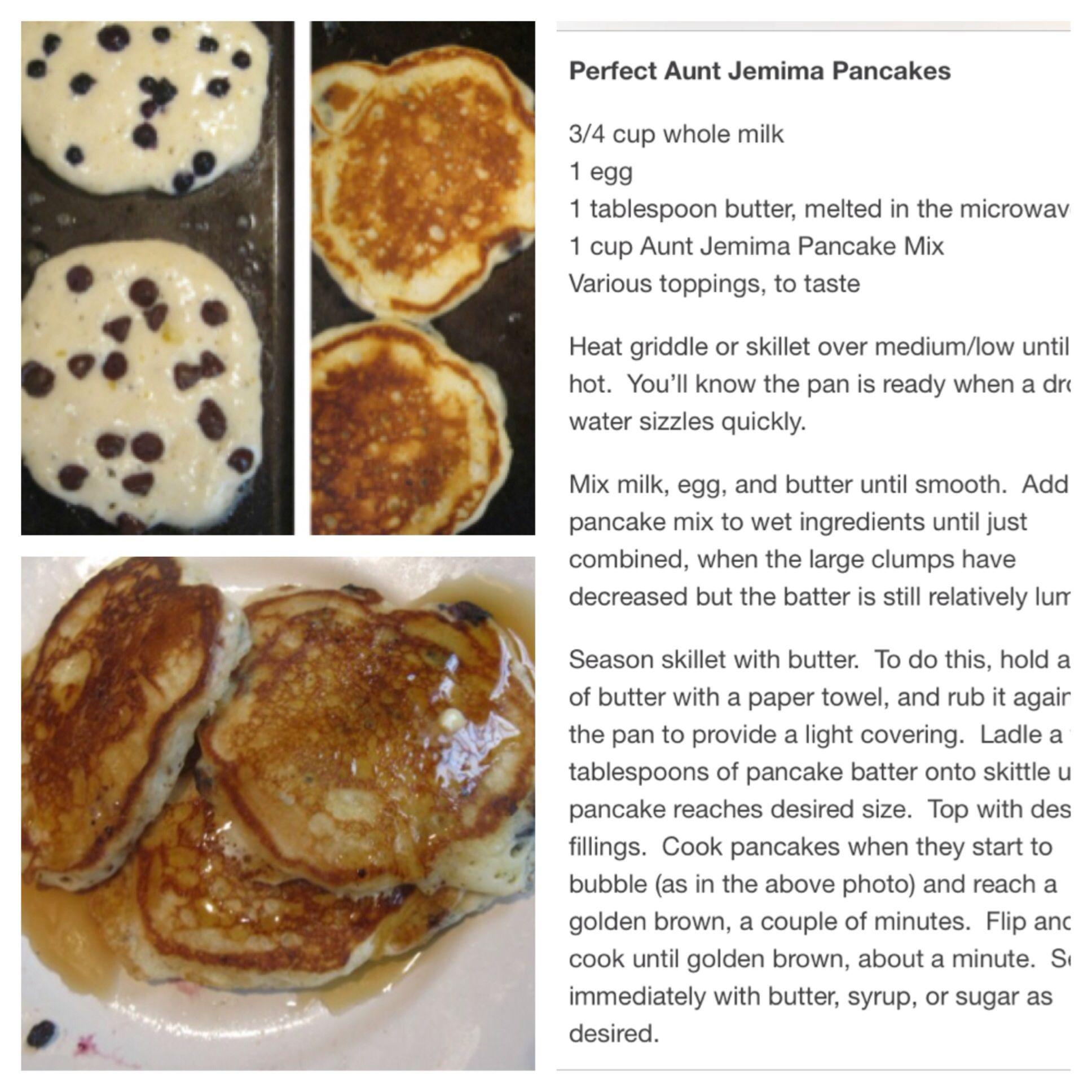 Aunt Jemima Chocolate Chip Pancakes Aunt Jemima Pancake Recipe Pancake Recipe With Water Aunt Jemima Pancakes