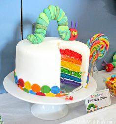 A Very Hungry Caterpillar Birthday Party Rainbow Cake via Made