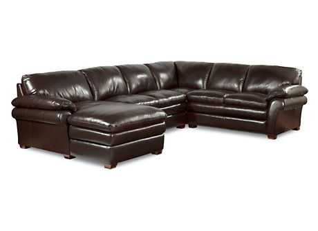 Lazy-Boy Leather Sectional 410 Product Dimensions As Shown