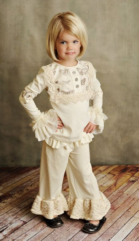 Persnickety Clothing Lou Lou Cream Top And Cream Bell Pant