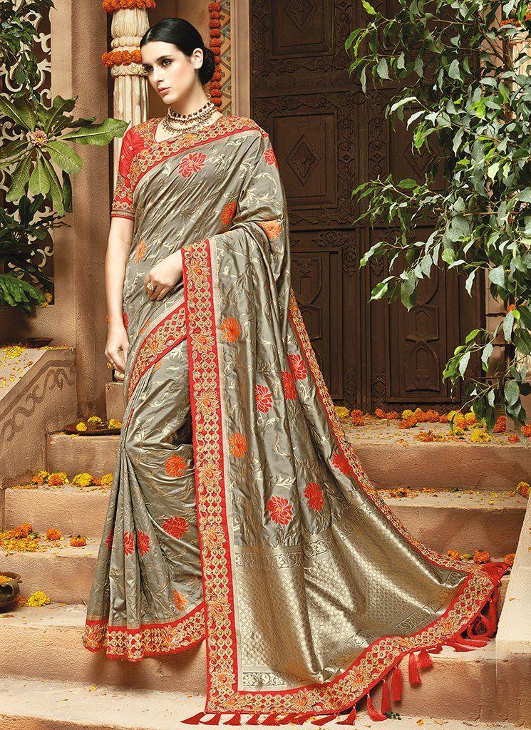 Pure silk weaving Jequard Saree and blouse for women,saree for women,saree dress,Indian saree,wedding saree,traditional saree orange saree