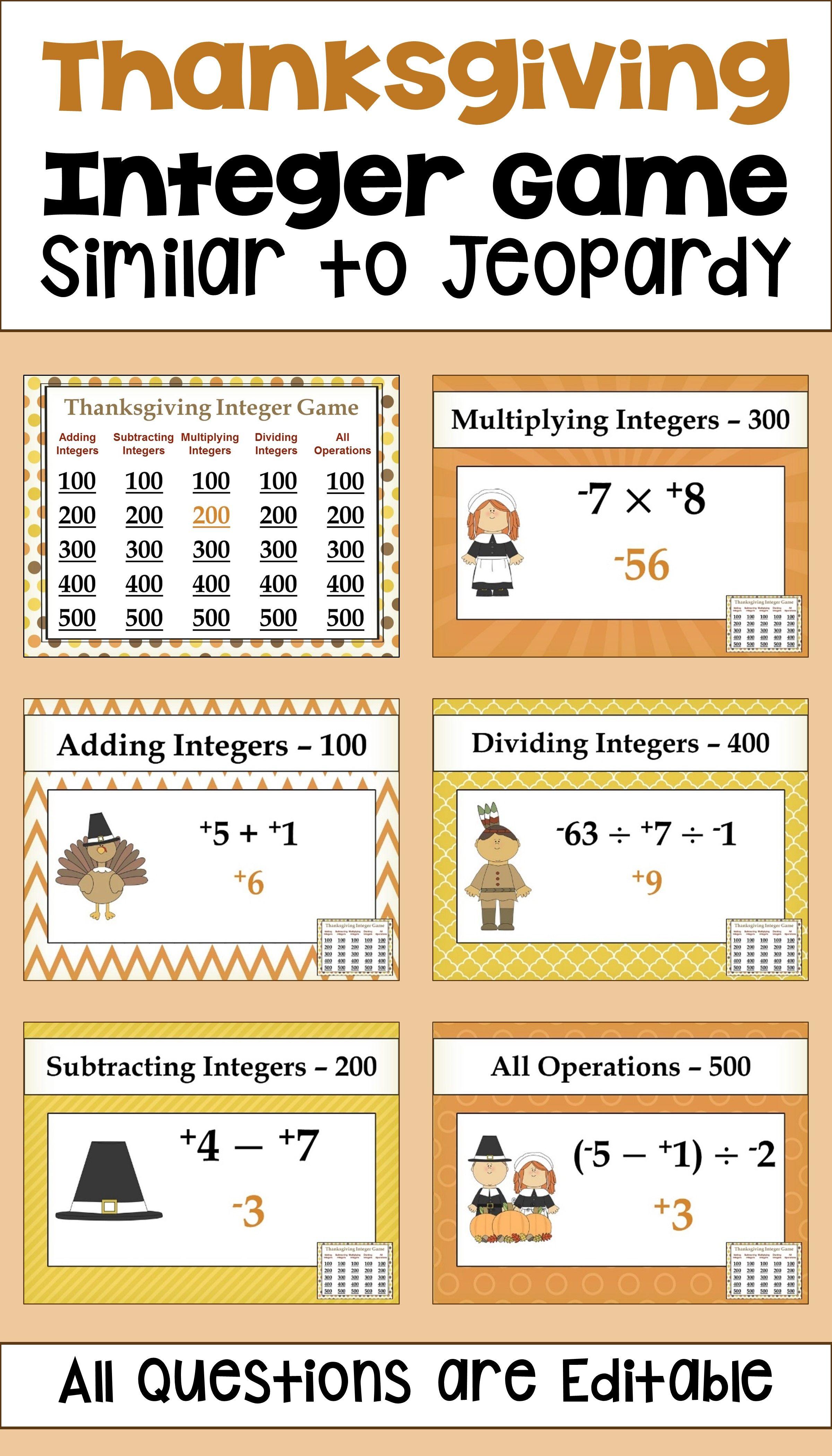 7th Grade Math Games Jeopardy Integers