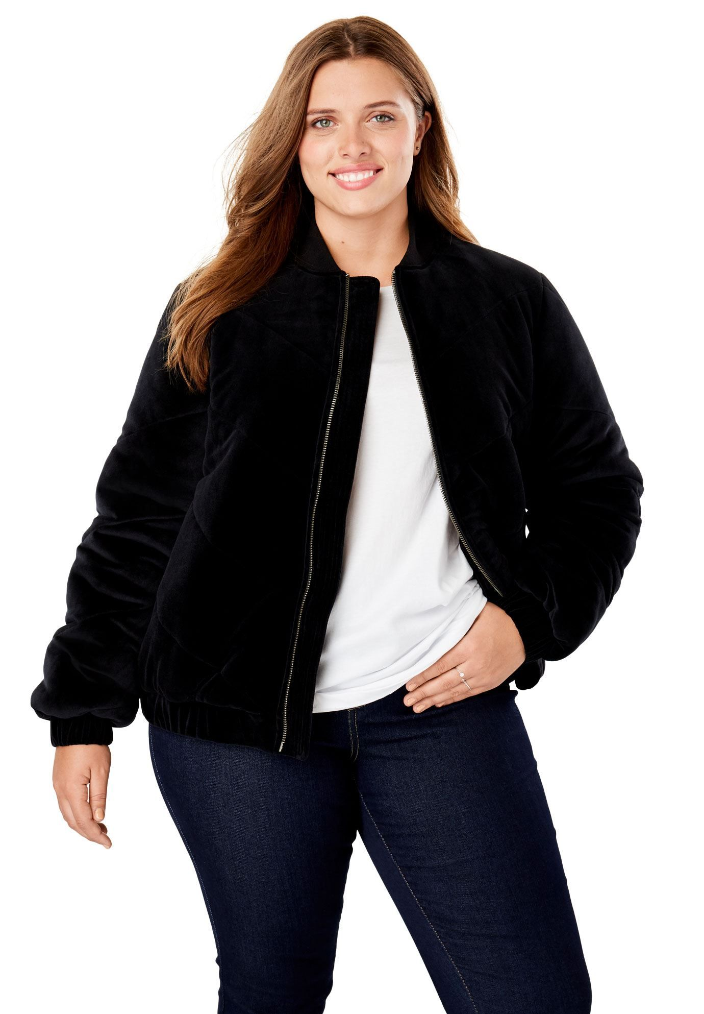 0580bbfa9e8 Velour Chevron-Quilted Puffer Jacket - Women s Plus Size Clothing ...