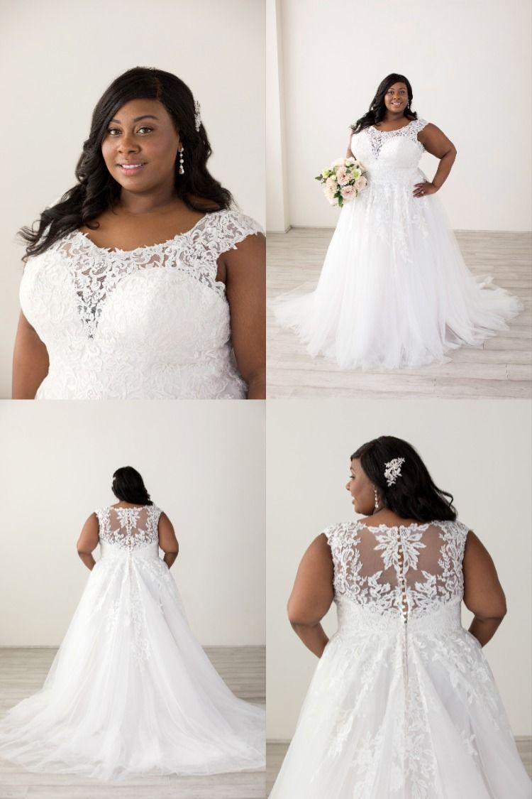 Lace Cap Sleeve Illusion Back Plus Size Tulle Ball Gown Tulle Ball Gown Ball Gowns Wedding Dresses [ 1125 x 750 Pixel ]