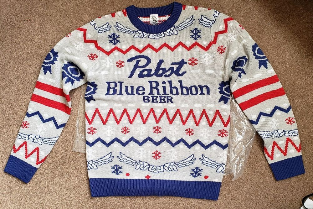 New Pbr Pabst Blue Ribbon Ugly Christmas Holiday Sweater Size Large