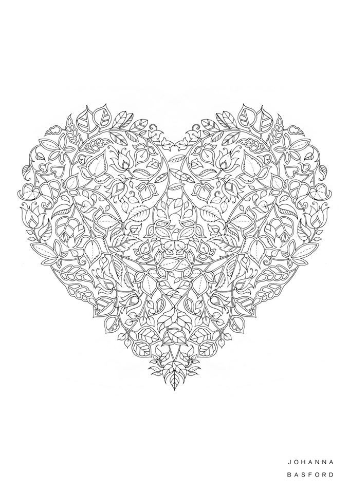 Beautiful Heart Heart Coloring Pages Valentine Coloring Johanna Basford Coloring