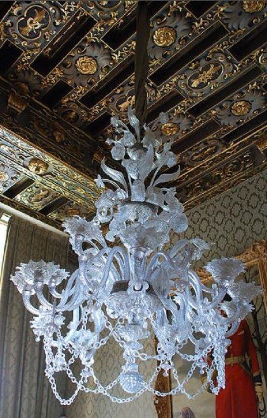 Ornate chandelier ceiling chateau de brissac candelabros ornate chandelier and decorate ceiling in the chateau de brissac loire valley france aloadofball Choice Image