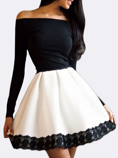 order online c35a0 db135 Buy Stylish Slash Neck Lace Patchwork Skater-dress  online with cheap ... 35a305089