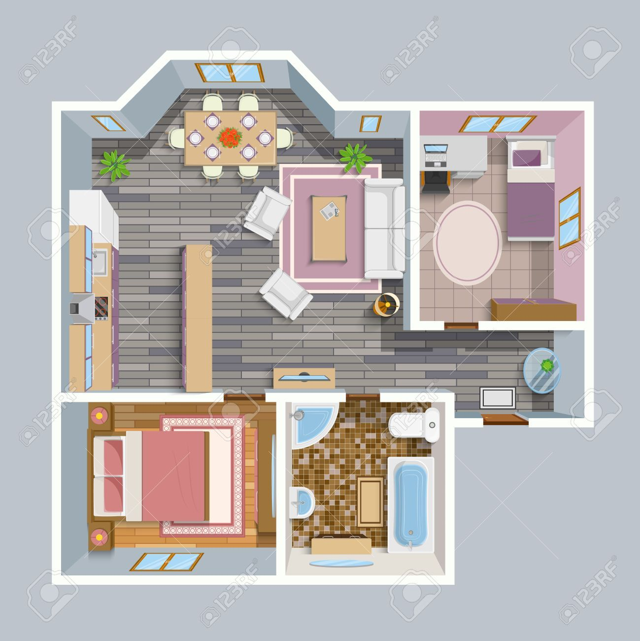 Expert Feng Shui Toulouse architectural flat plan top view with living rooms bathroom